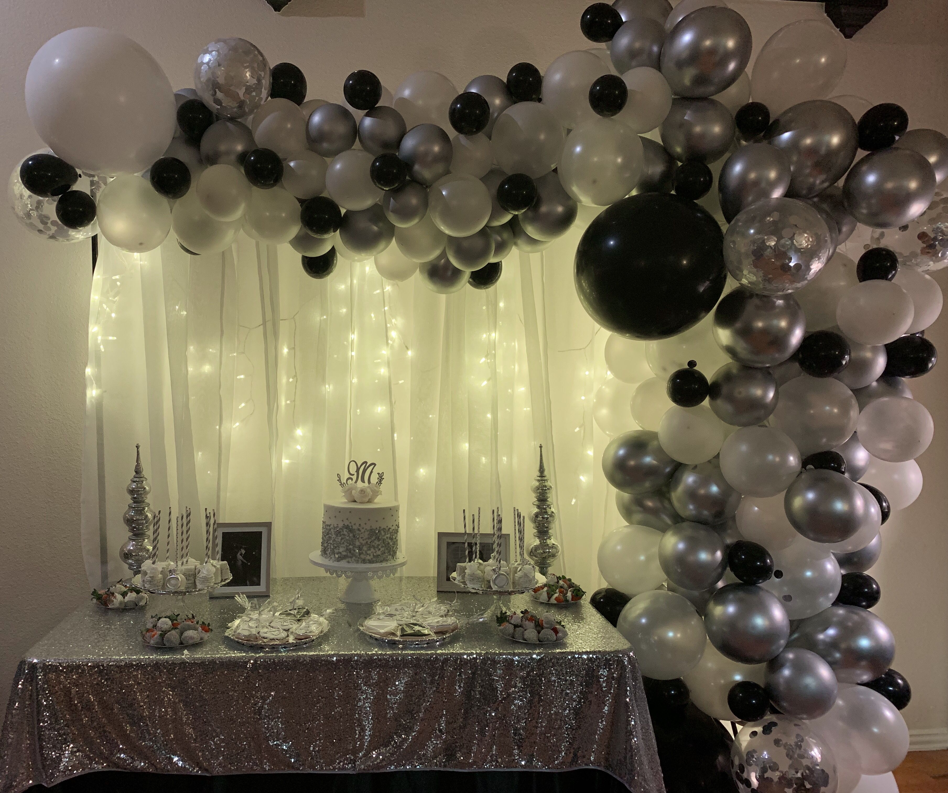 Silver Pearl Clear With Silver Confetti And Black Accent