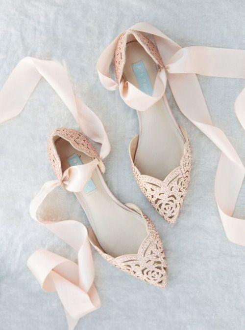 Flache Brautschuhe Mit Tullbandern Rosa Flache Hochzeitsschuhe