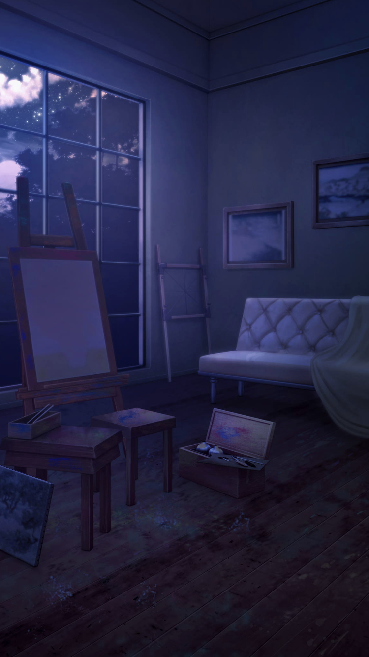 Living Room With Easel Night Cenario Anime Fundo Para Fotos