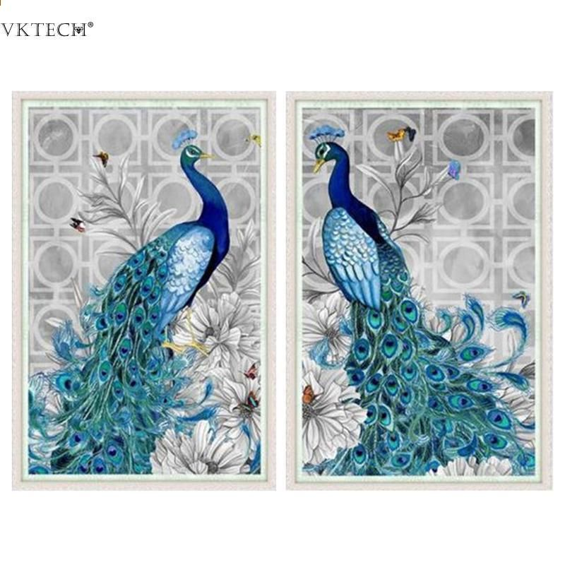 DIY 5D Peacock Diamond Paintings Kit Embroidery Cross Stitch Art Craft Home