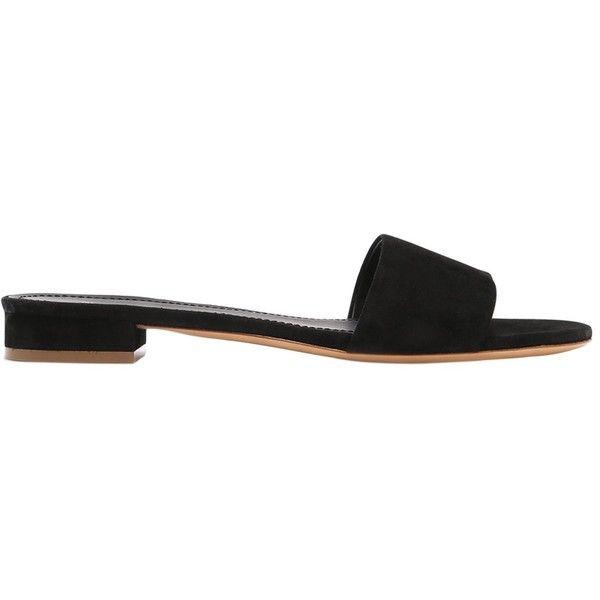 Single Strap Suede Slide Sandals