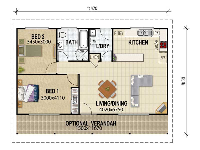 Granny flat plans on pinterest granny flat 3d house for Three bedroom flat plan
