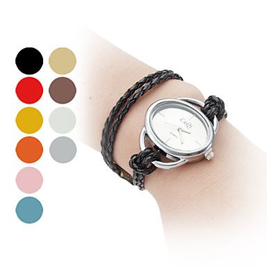 Women's Long Braided Rope Style PU Leather Band Analog Quartz Bracelet Watch (Assorted Colors) - USD $ 4.99