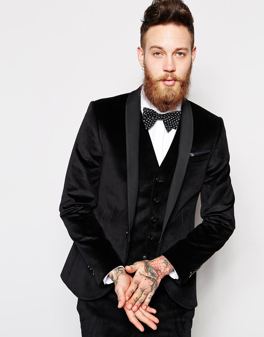 Noose & Monkey Skinny Black Suit In Velvet | Vegas Wedding ...