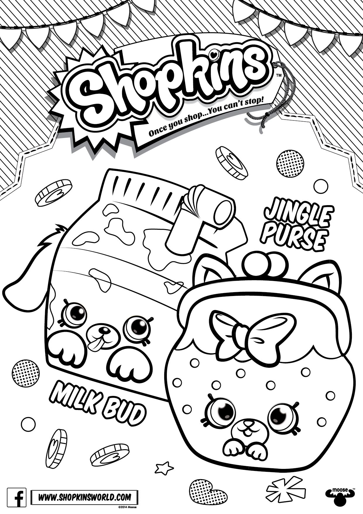 Shopkins color sheets - Shopkins Coloring Pages Season 4 Petkins Jingle Purse Milk Bud Made By A Princess
