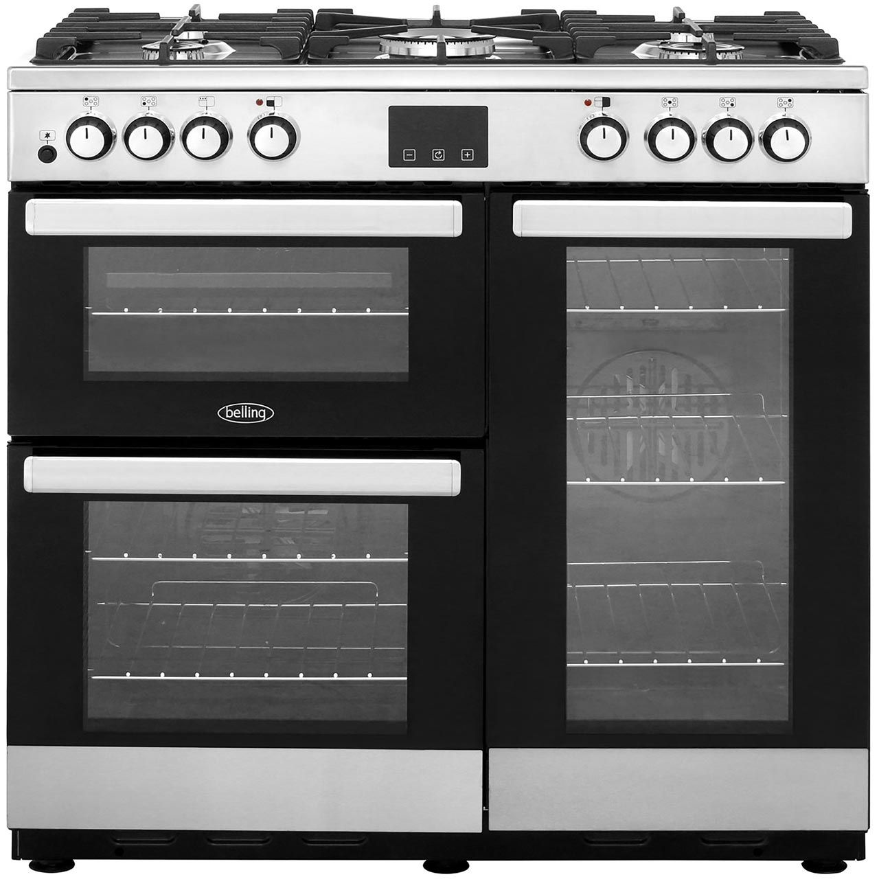 Belling Cookcentre90dft 90cm Dual Fuel Range Cooker Stainless Steel A A Rated Range Cooker Belling Range Cooker Dual Fuel Range Cookers