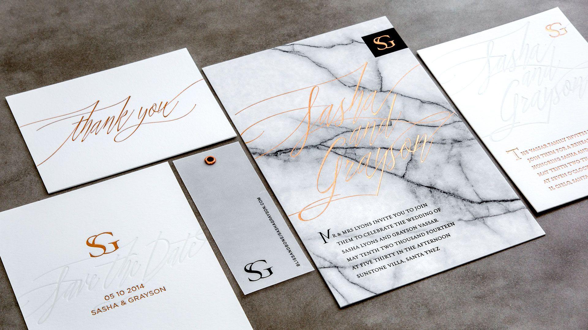 Letterpress & Foil Invitations / Copper / Marble / White ...