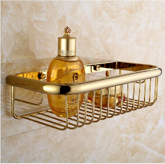 Contemporary Gold Wall Mounted Bathroom Soap Dish Bath Shower Shelf Bath  Shampoo Holder Basket Holder Bathroom