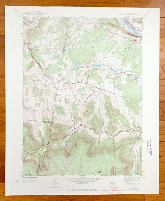 Antique Jenningsville, Pennsylvania 1945 US Geological ...