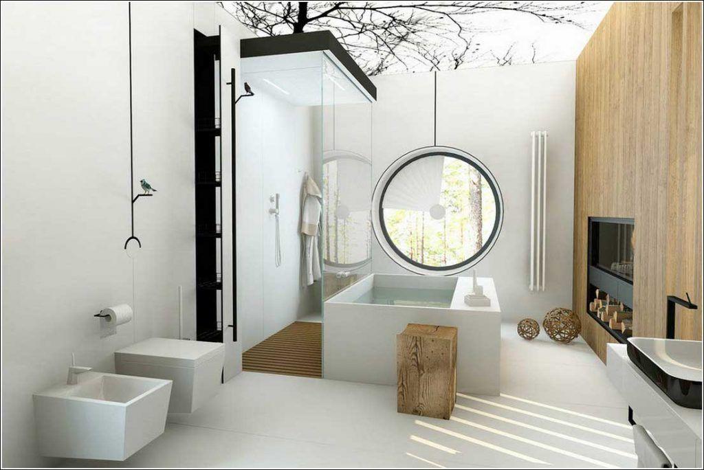 Moderne Witte Badkamer : Moderne witte badkamer met open haard home inspiration pinterest