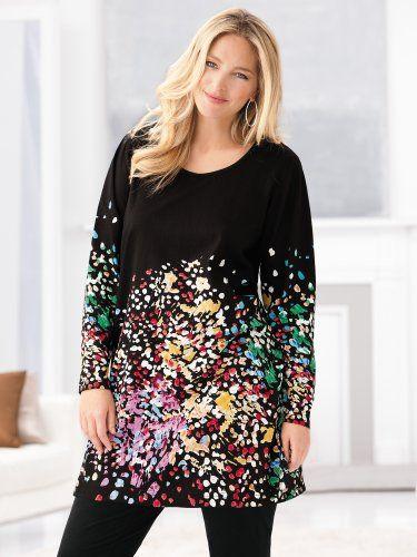 ulla popken plus size color collage knit tunic - multi, 16/18 ulla