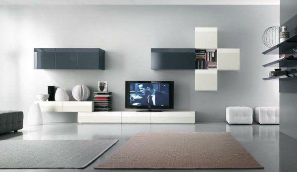 Le meuble suspendu de salon décore et modernise le salon Tv walls