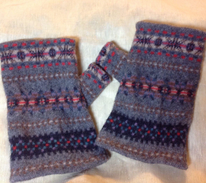 Felted Fingerless Gloves for men knit pattern lamb\'s Wool felt high ...