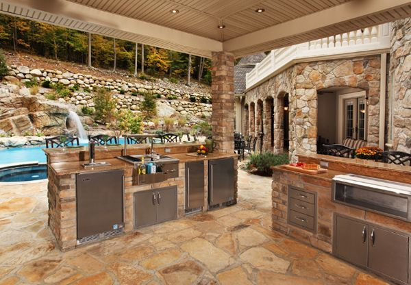 So Much To Love Here With The Stone And The Pool And The Space Covered Outdoor Kitchens Backyard Kitchen Outdoor Kitchen