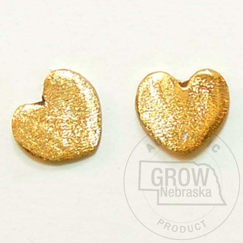 Textured Gold Heart Earrings