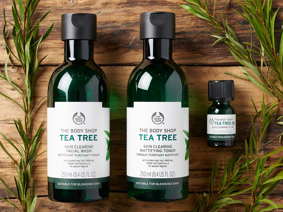Discover The Ultimate Skin Clearing Trio With Our Tea Tree Oil Collection Our Cleanse Tone And Target Body Shop Tea Tree Skin Cleanser Products Tea Tree Oil