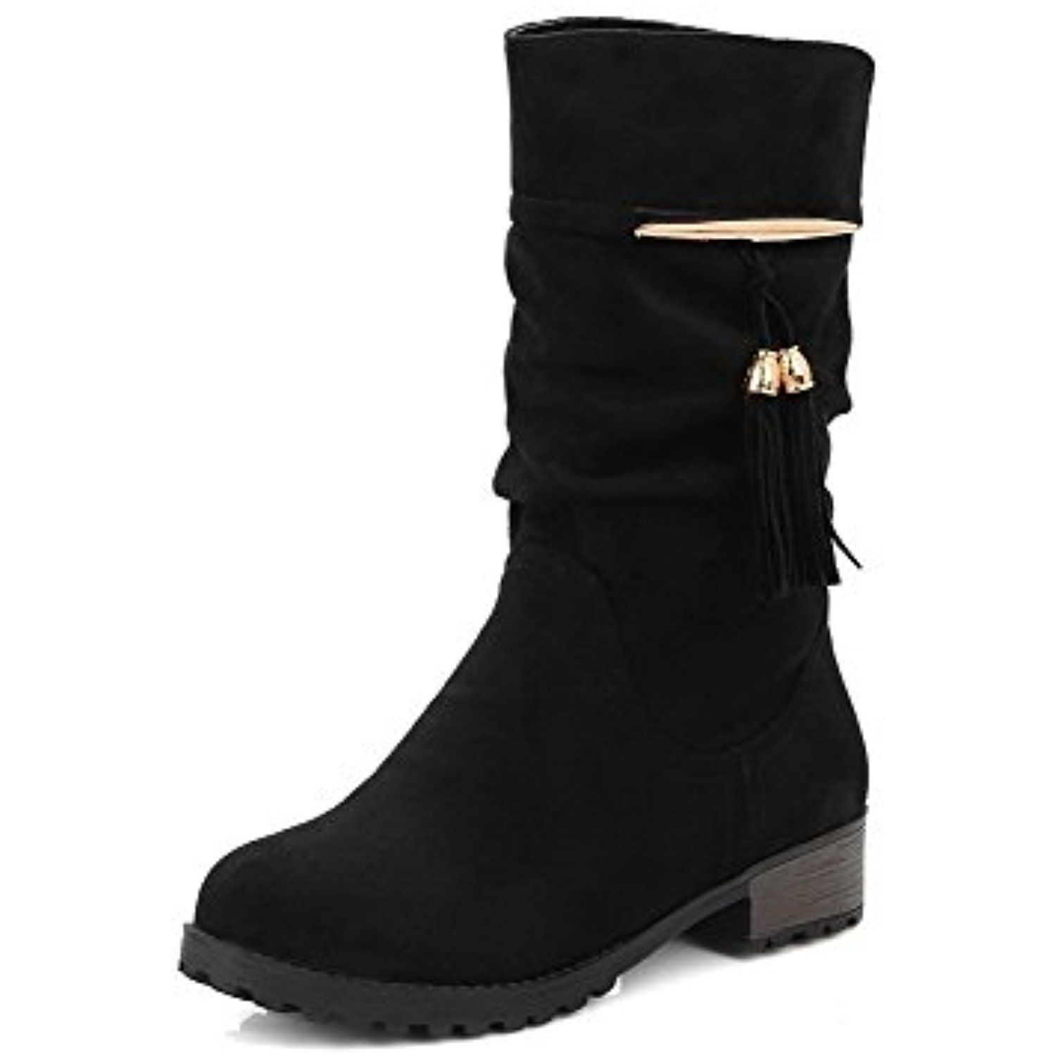 Women's Round Closed Toe Low Top Low Heels Fringed Frosted Boots