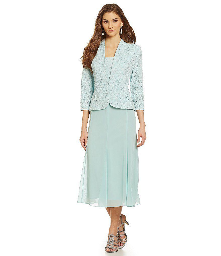 Alex Evenings Jacquard Tea-Length Jacket Dress   Wedding - Mother of ...