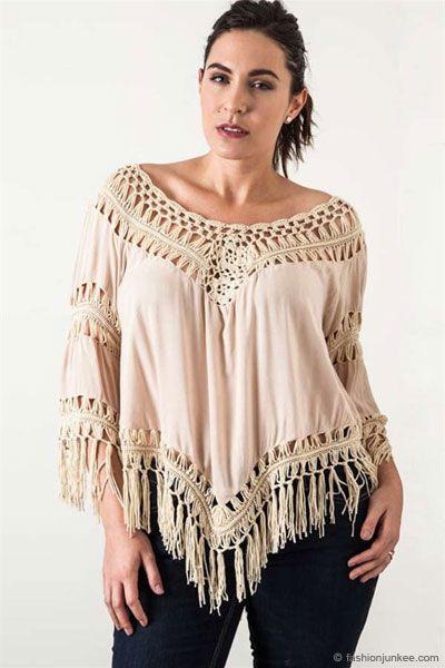 bd1a7f384bf Plus Size Fringe Boho V-Neck 3 4 Sleeve Crochet Tunic Top-Taupe Beige