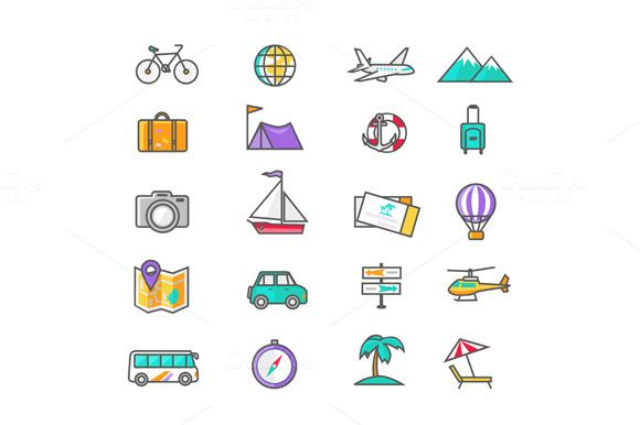 Set Thin Lines Icons of Traveling by robuart on Creative Market