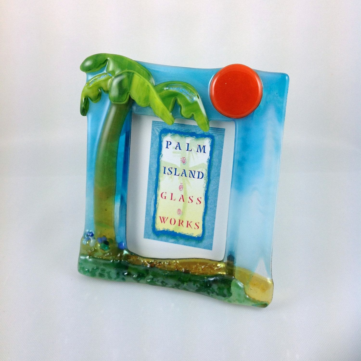 Fused glass picture frame palmtree single 25 w x 35 h fused glass picture frame palmtree single w x h perfect for wallet size photos by palmislandglassworks on etsy jeuxipadfo Image collections
