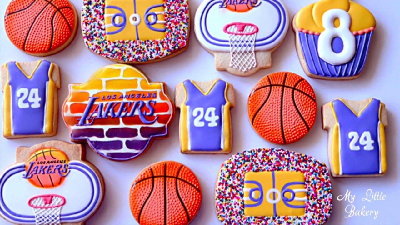 Basketball Birthday Cookies For Los Angeles Lakers Little Fan Youtube Lakerscake In 2020 Happy Birthday Cookie Birthday Cookies Basketball Birthday Cake