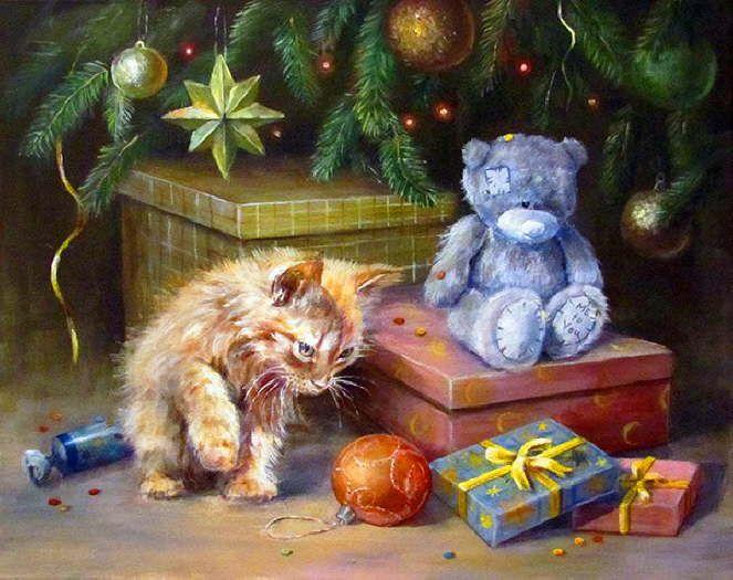 Christmas Cat paintings. Olga Vorobyeva - Sudden Gift | Taidetta ...