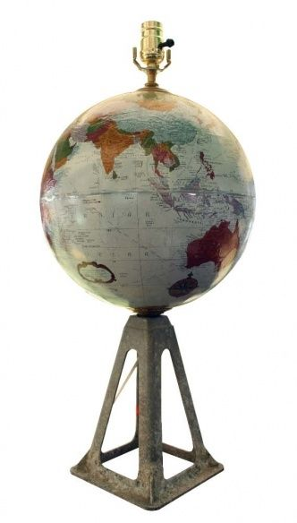 Globe lamp - mounted on vintage jack stand - this would be neat in our big room