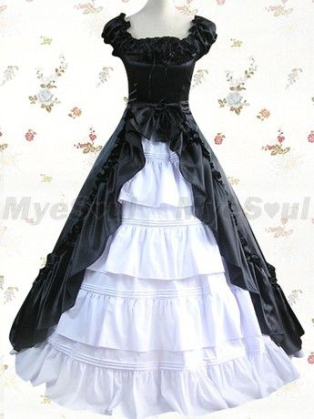 Classic Lolita Dress White and Black Cuff Sleeves Ruffled Front Splitting Multi layer Satin