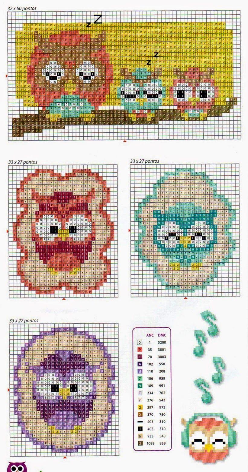 kallana-ponto-cruz-cross-stitch-coruja-3.jpg 821×1,558 pixels   haft ...