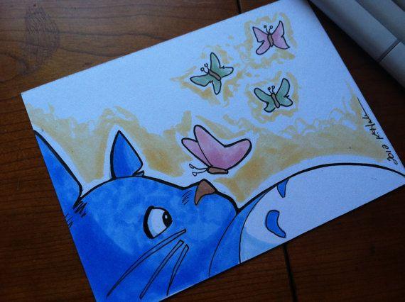 Butterfly Totoro Marker Sketch By Khallion On Etsy 15 00