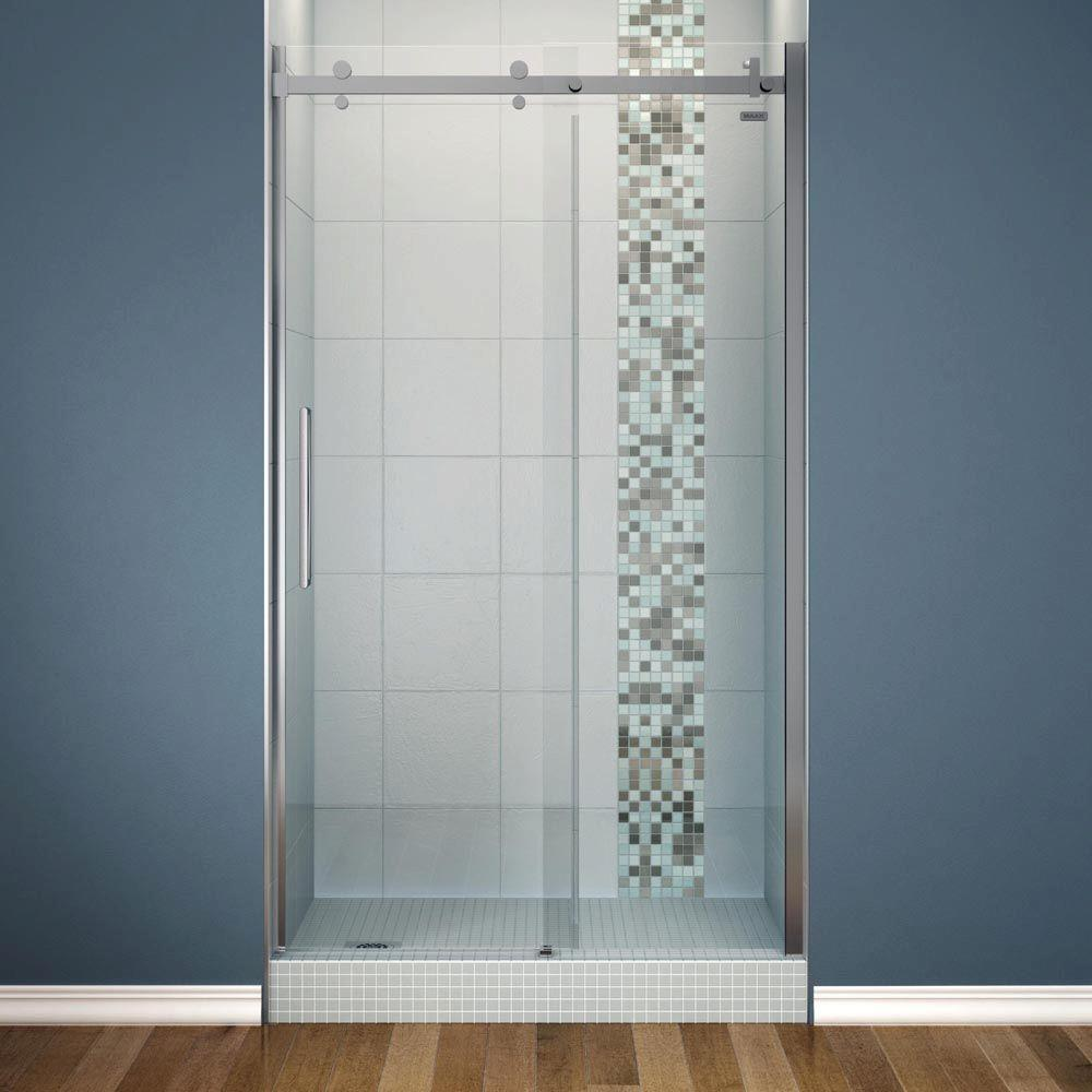 Maax Halo 48 In X 78 3 4 In Semi Framed Sliding Shower Door With Clear Glass In Chrome 138996 900 084 000 The Home Depot Shower Doors Frameless Shower Doors Frameless Sliding Shower Doors 48 inch glass shower door