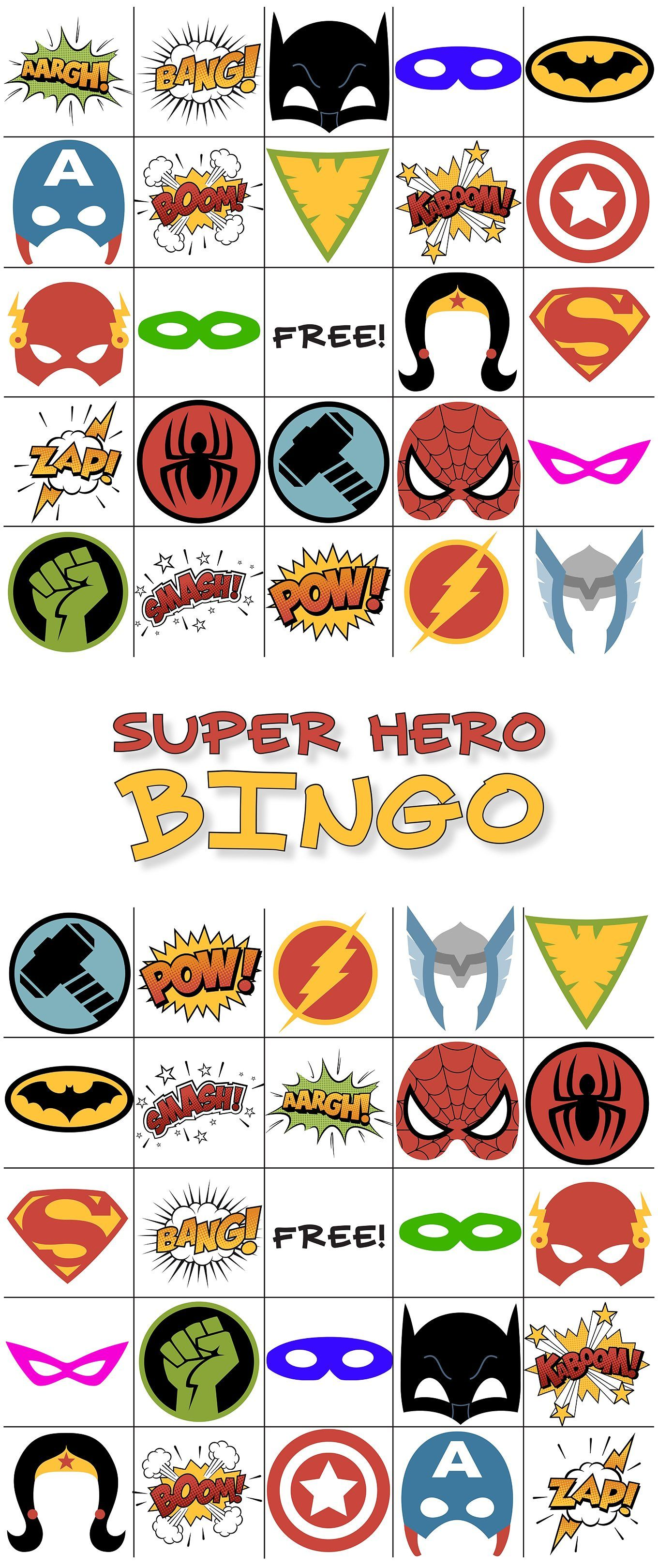 Free Printable Super Hero Bingo Party Super Hero Superhero
