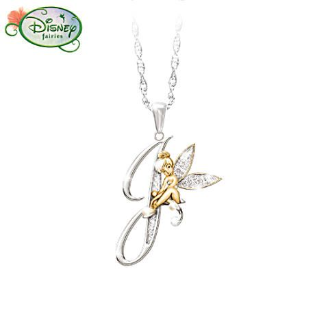 Tinker Bell Initial Pendant Necklace Your initial with Tink in a