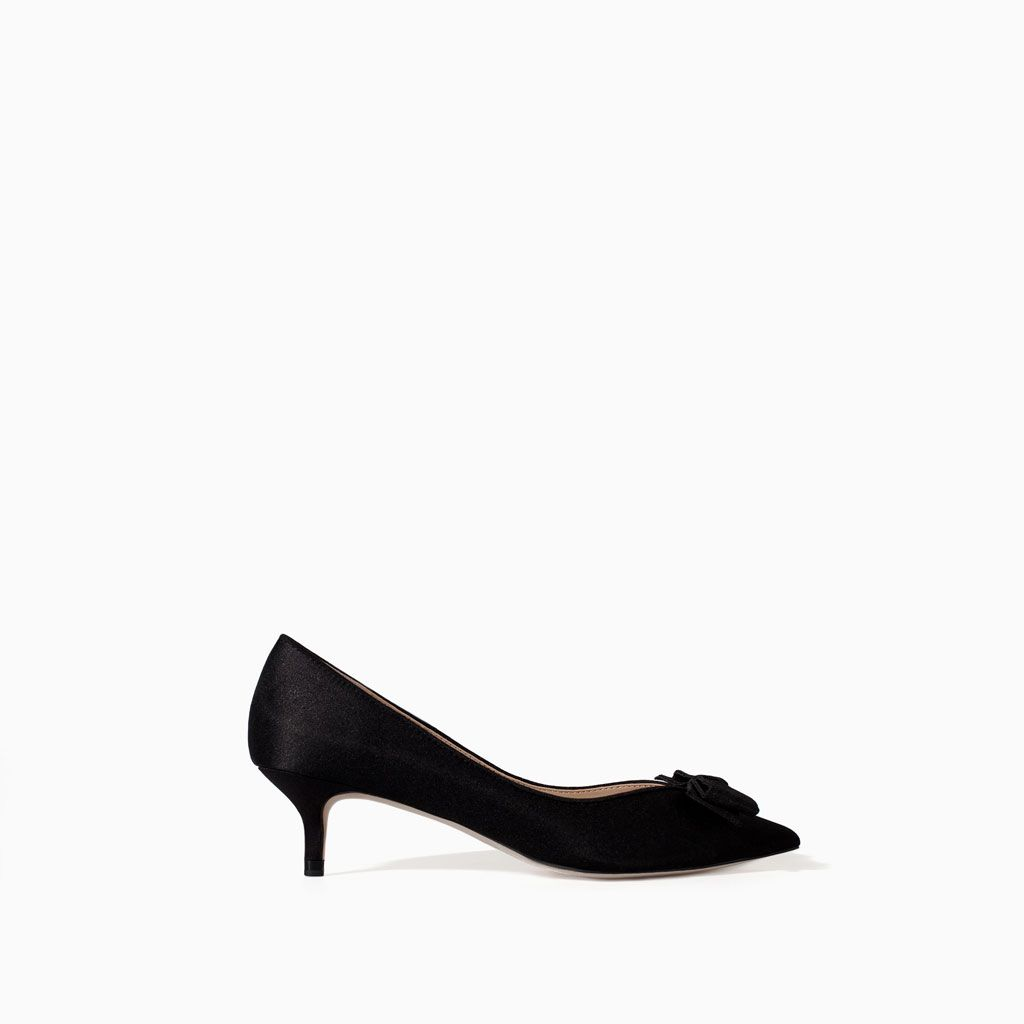 bcc674b5d2 KITTEN HEEL SHOES WITH BOW from Zara | What to Wear | Shoes heels ...