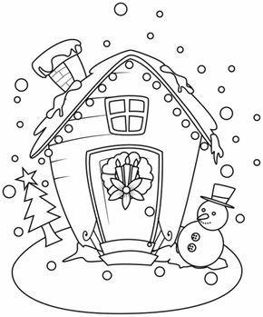 weihnachten: geschmücktes weihnachtshaus zum ausmalen mit bildern | malvorlagen halloween