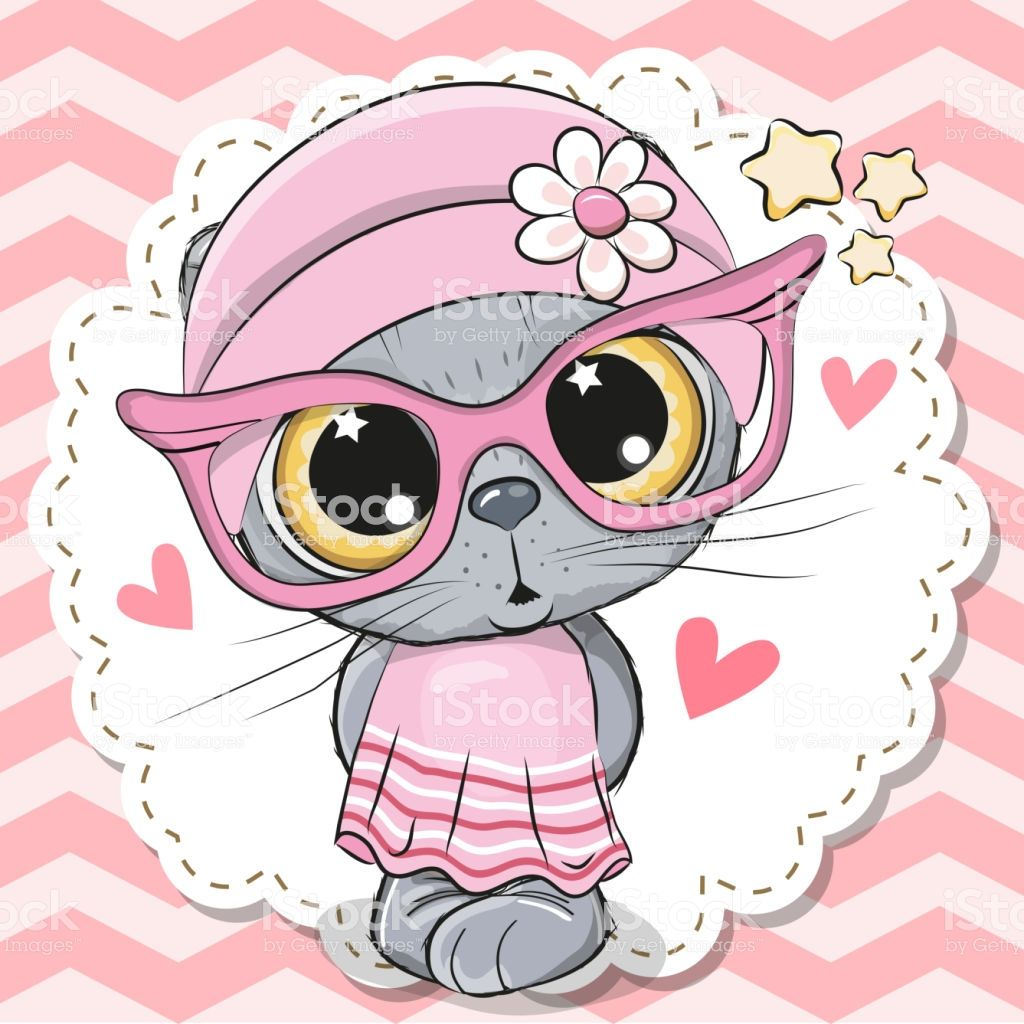 Cute cartoon Cat girl in pink eyeglasses with a bow Cute