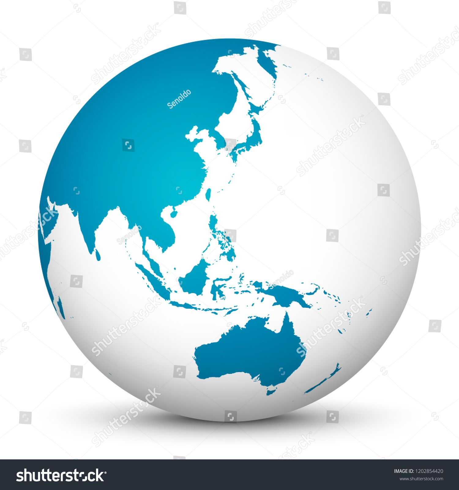 White 3d Globe Icon With Blue Continents Planet Earth Focus On Australia Japan India Korea And New Zealand Pacific Ocean Worl Globe Icon 3d Globe Globe