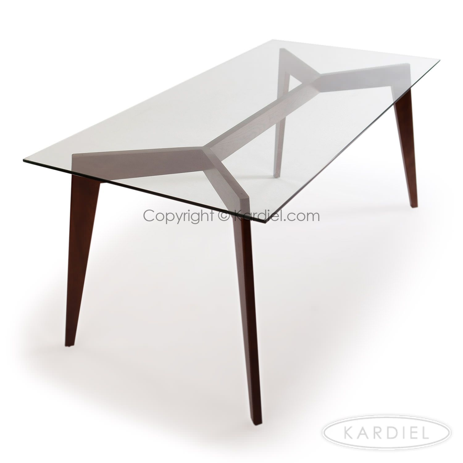 Deco Blaze Mid Century Modern Dining Table Walnut Legs Glass Top