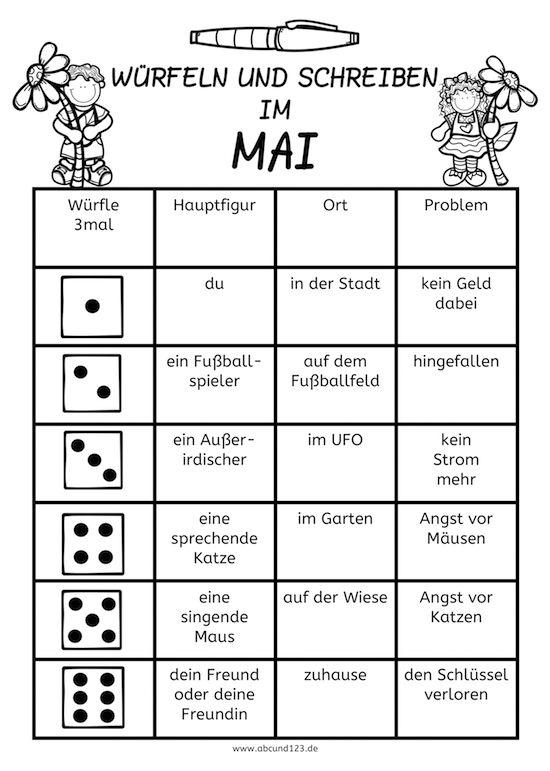 Würfeln und schreiben im Mai - | Grundschule | Pinterest ...