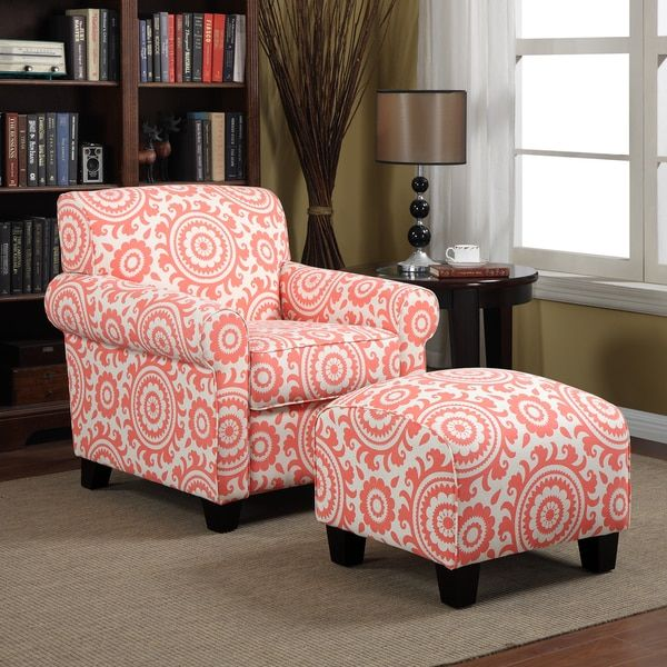 Handy Living Mira Orange Coral Medallion Arm Chair and Ottoman ...