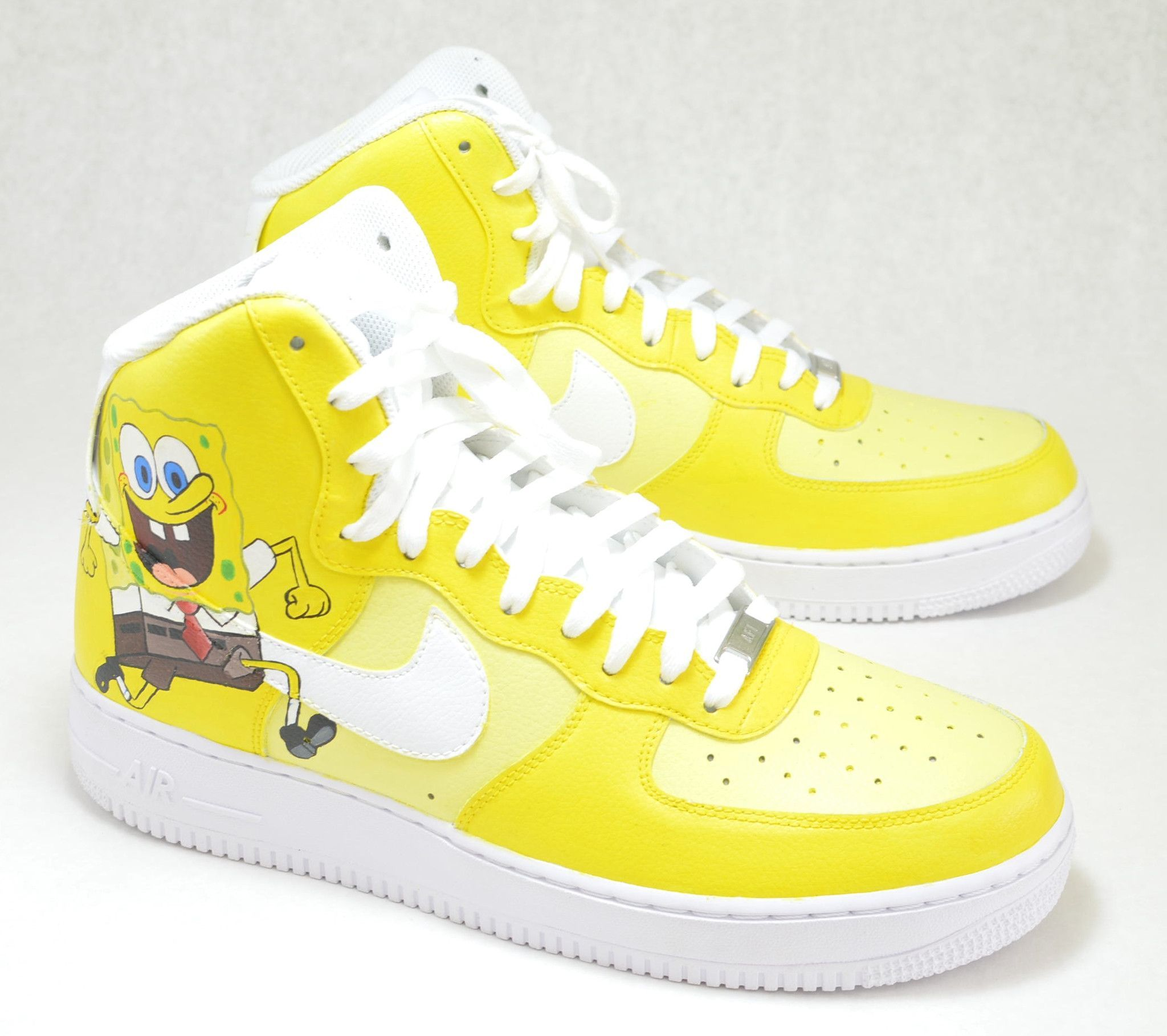 sale retailer 89c8e e7fd4 ... Spongebob SquarePants Nike AF1 High - Custom Painted Sneakers ...