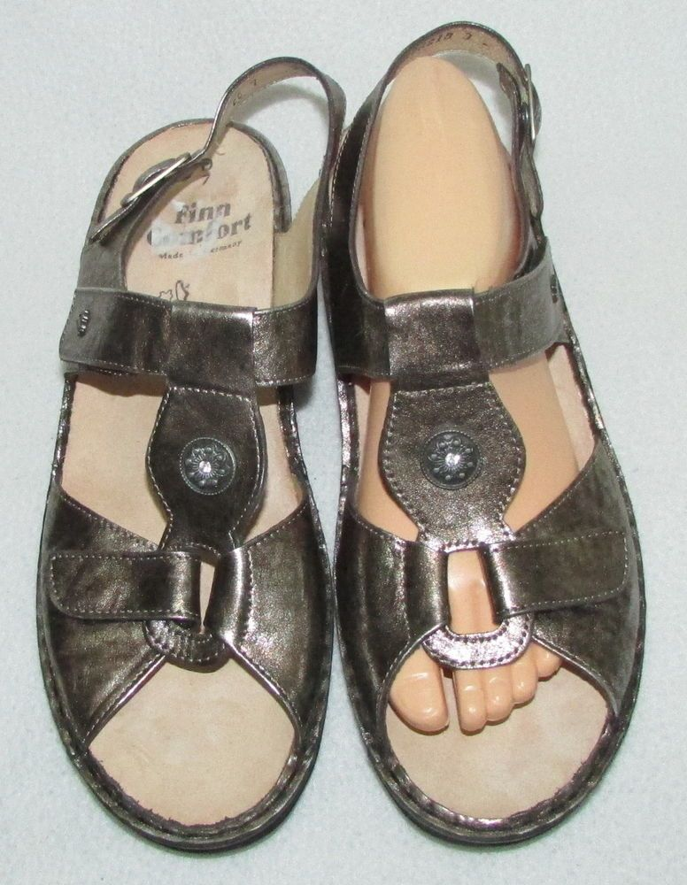 fd8fd1d3eb6f FINN COMFORT ADANA Antique Gold T-Strap Leather Sandals Womens US 9.5 40 UK  7  FinnComfort  Strappy  Casual