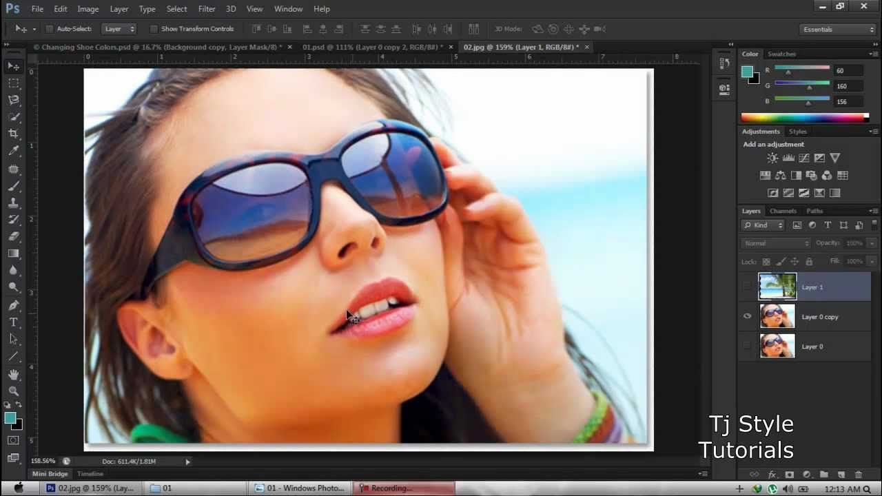 Photoshop Cs6 For Beginners - 06 - selecting and putting onto Mask layer (glasses will reflect palm trees)