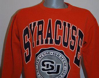 90s Syracuse University Mens Sweatshirt L Pullover Orange