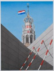 Bakenessertoren, Haarlem,    2010, 100 X 131 cm, aquarelverf,