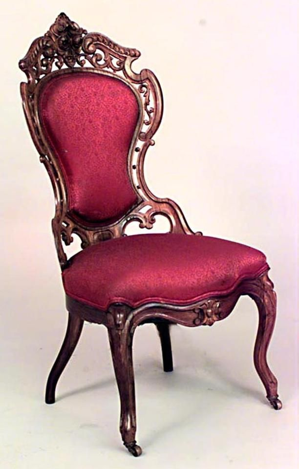 American Victorian Red Damask Side Chairs Victorian Chair Victorian Furniture Elegant Chair