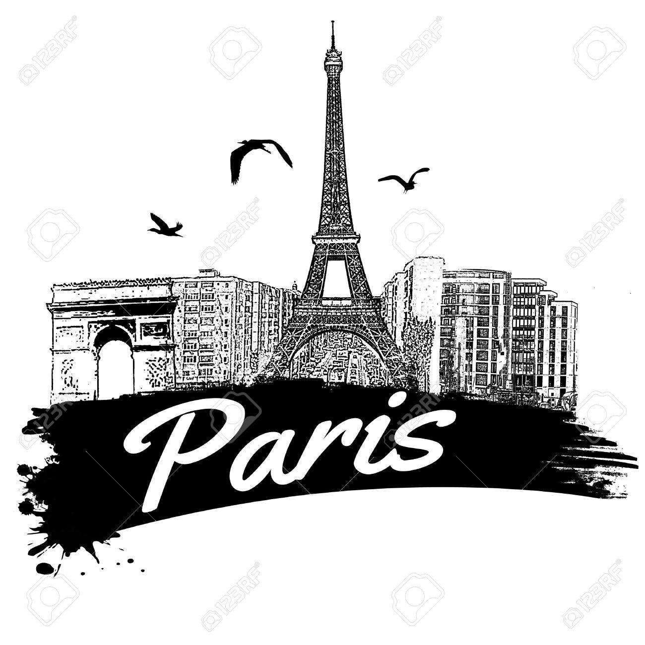 Paris Illustration: 24028467-Paris-in-vintage-style-poster-vector-illustration