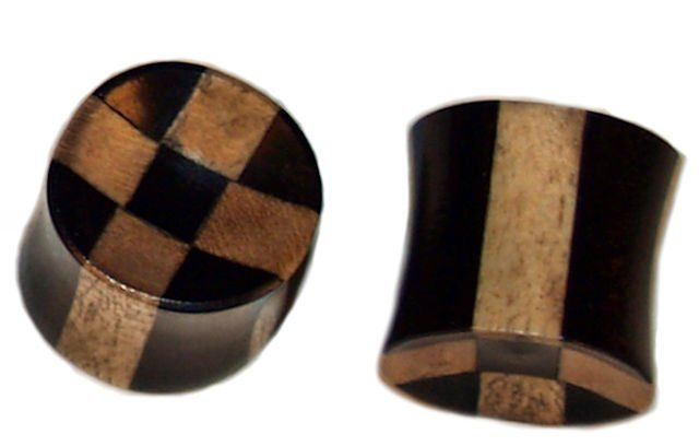 PAIR of ORGANIC Wood Grooved EAR Gauge PLUGS Rings Flesh TUNNEL Piercing Jewelry
