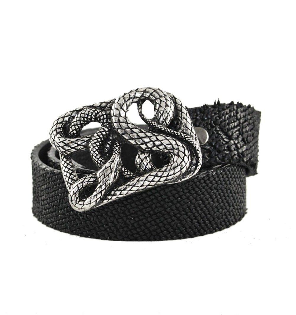 Rocker Textured Italian Leather Belt with Heavy Metal Snake Buckle